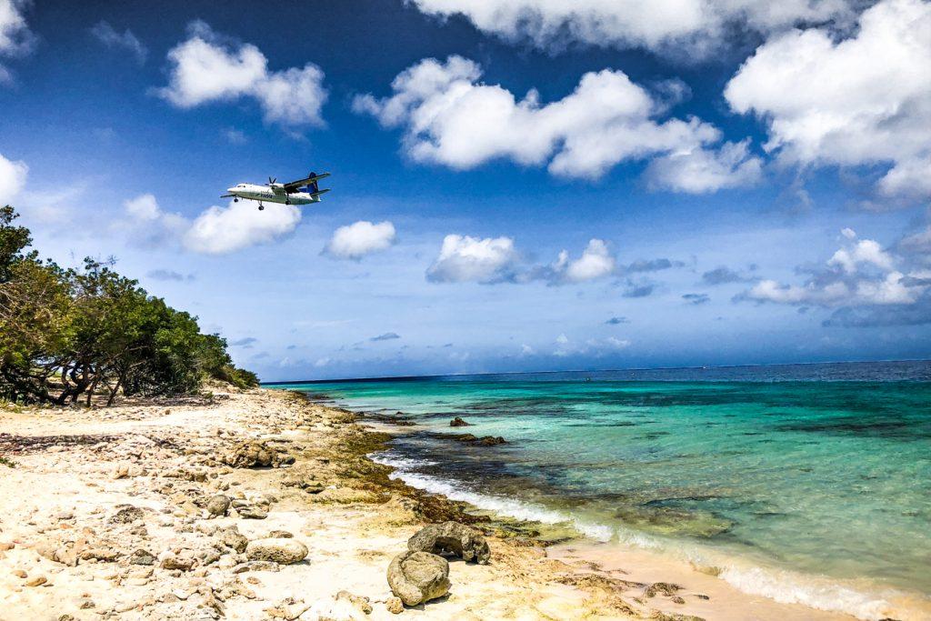 Plane near the beach in Bonaire