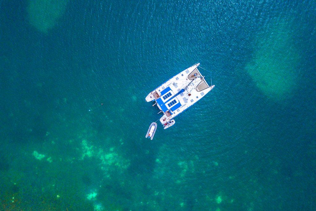 Catamaran drone view