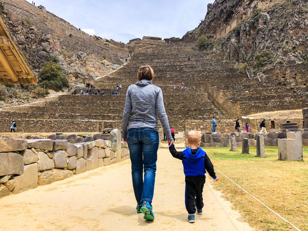 Ollantaytambo with a toddler