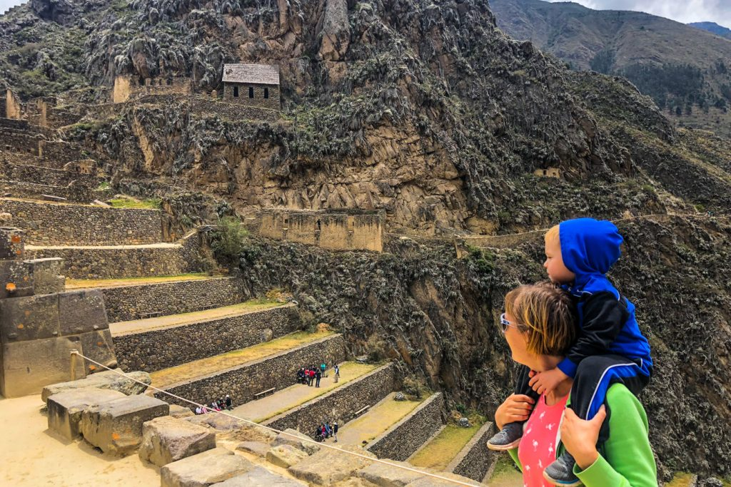 Ollantaytambo ruins with a toddler