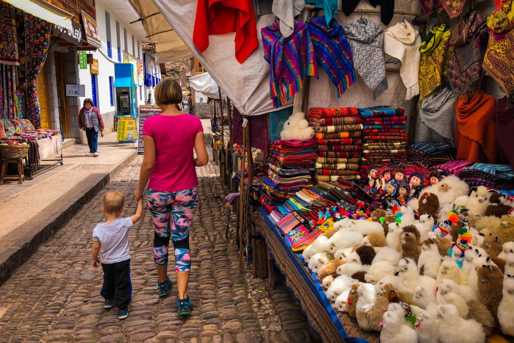 Pisac Market with kids