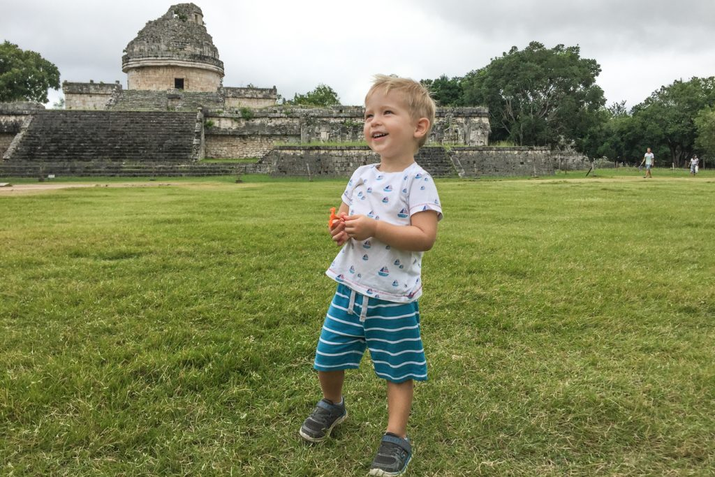 Chichen Itza with a toddler