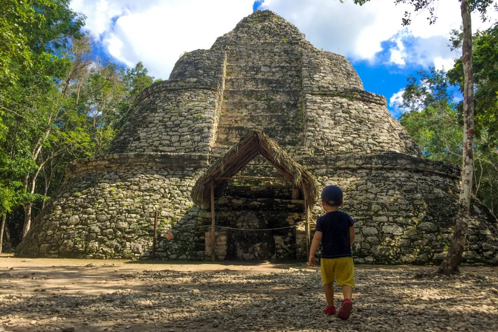 Coba ruins with a toddler