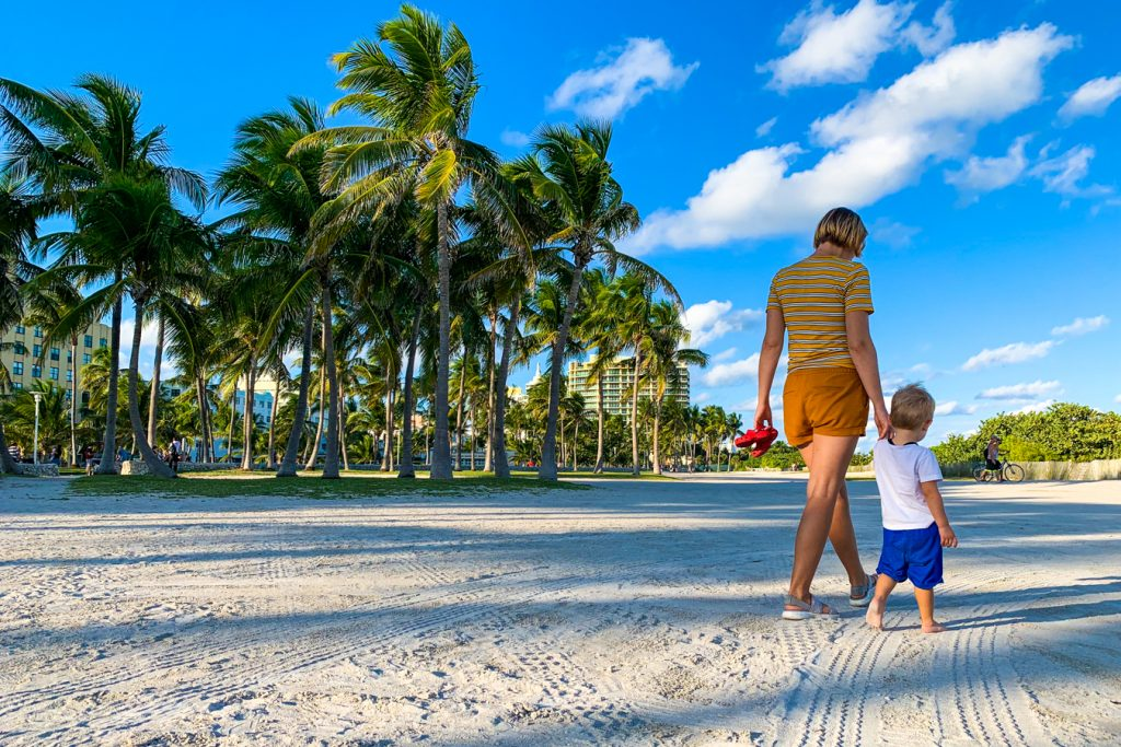 Mother and child at Miami beach