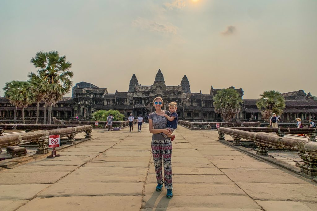 angkor wat with toddler
