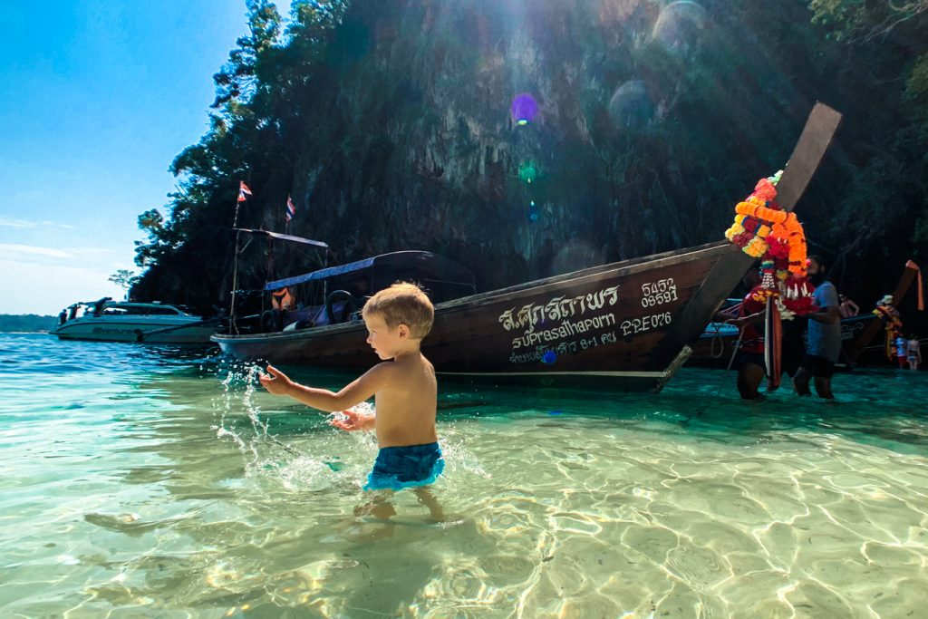 long tail boat phi phi with kids